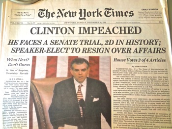 clinton impeachment headlines nyt