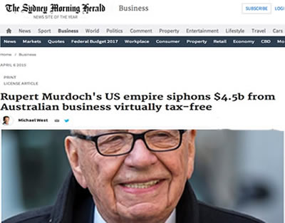 slimy murdoch cheats australia tax breaks