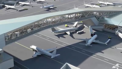 lga pedestrian bridges laguardia airport redesign photos