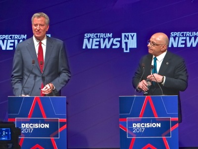 2017 mayoral debates nyc bill de blasio sal albanese photos