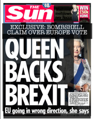 sun reports queen backs brexit newscorp sun propaganda in britain