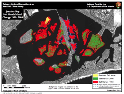 erosion of marshlands in jamaica bay 1951 - 2008