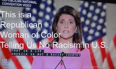 nikki haley the woman of color at republican national convention rnc tells republicans the us isn't racist