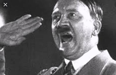 angry fuhrer screaming hate and anger into the air