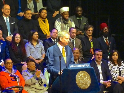 NYC Mayor Bill de Blasio Delivers State of the City Address 2019 | state of the city address 2019 by mayor bill de blasio state of New York City address symphony space upper west side manhattan nyc january 10 2019