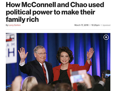 II. How Corrupt are Mitch McConnell & his Wife Elaine Chao? | mitch mcconnell senator elaine chao secretary of transportation betray kentuckians mcconnell traitor russian asset chinese asset james chao foremost shipping