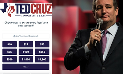 Senators Ted Cruz & Josh Hawley Appear to Use Deceitful Claims of Election Fraud to Fundraise off Ignorant Trump Supporters | missouri senator josh hawley fundraising scam off trump fraudulent claims of election fraud texas senator ted cruz phony claims of election fraud to fundraise off of ignorant trump donors january 2021