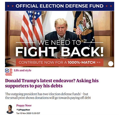 Is Donald Trump Using the Federal Government to Scam his Supporters for Money to Pay his Debts? | donald trump uses federal government apparatus to scam his supporters trump uses pompeo barr mcenany to defraud supporters with false claims of voter fraud to raise money to pay his debts baby man tantrum donald trump sore loser donald trump poor sport liar cheater thief