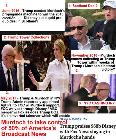 rupert murdoch corruption fox fake news murdoch quid pro quo trump tax breaks deregulation calls off attys prosecuting murdochs fox fake news crimes wsj ny post propaganda corruption