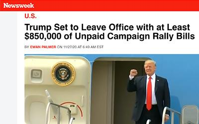 trump election fraud using us government? trump fraud trump debts $850 million of unpaid campaign bills trump stiffs cities across america taxpayers